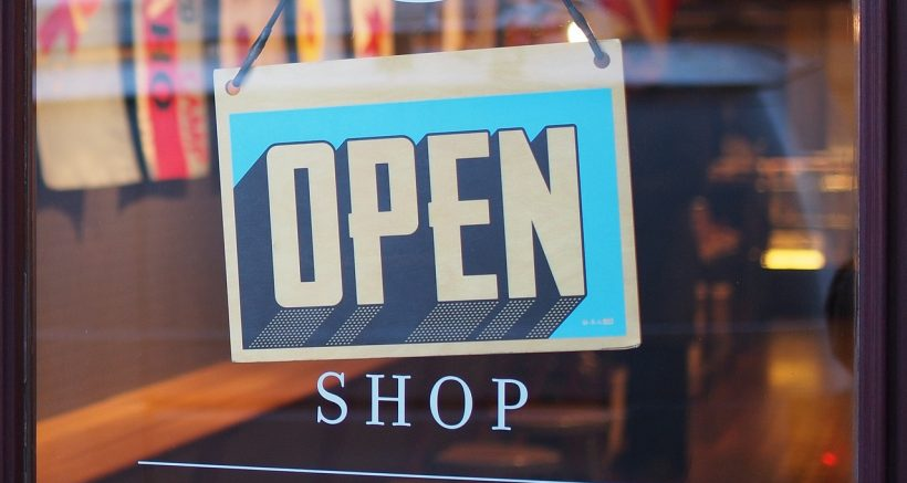 retail store open sign